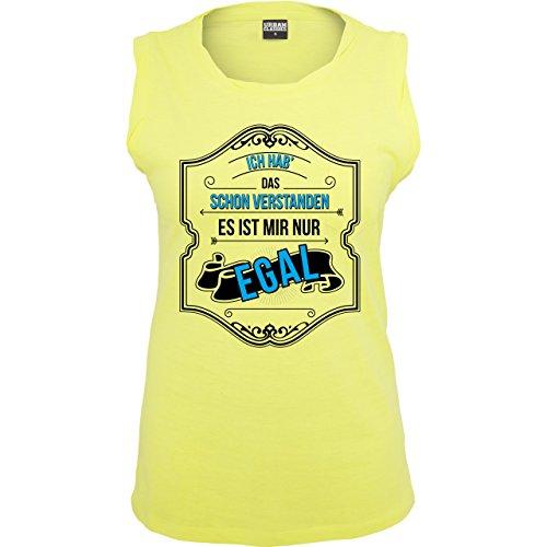 Statement Shirts - Ich hab das schon verstanden ist mir nur egal - ärmelloses Damen T-Shirt mit Brusttasche Neon Gelb