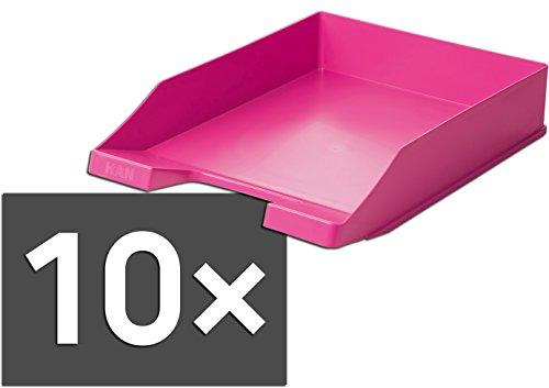 HAN 1027 Briefablage KLASSIK, DIN A4/C4, stapelbar, stabil, modern (pink / 10er Pack)