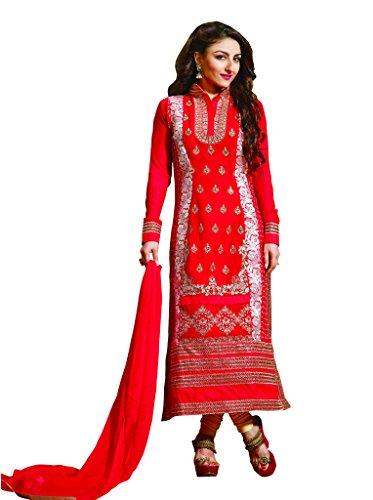 Red Colour Faux Net Georgette Semi Party Wear Heavy Zari Work Churidar...