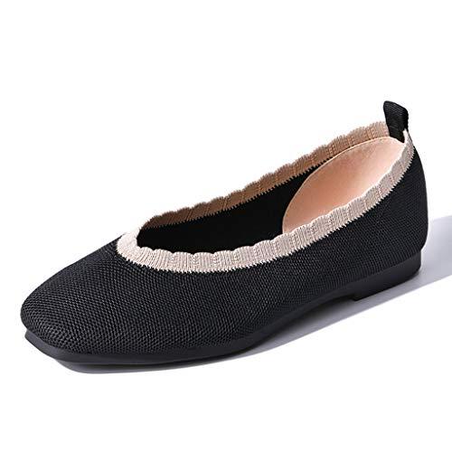 Damenschuhe, Freizeitschuhe gestrickt Mesh Flache Schuhe Bequeme quadratische Kopf wild,A,39