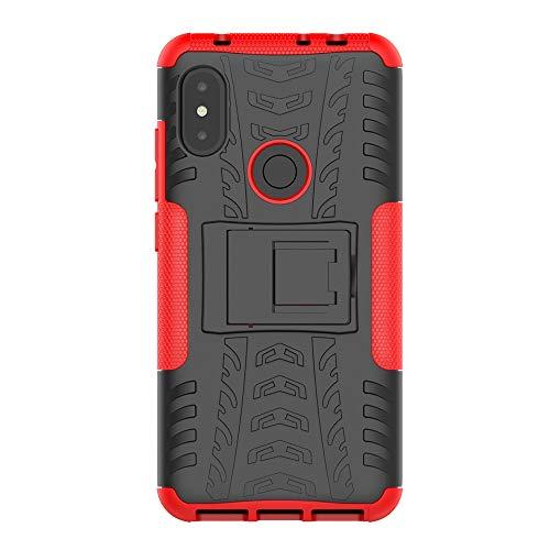 Gray Plaid Coque Xiaomi Redmi Note 6,Robuste Double Couche Antichoc Armure Housse Étui de Protection Bumper Cover avec Stand pour Xiaomi Redmi Note 6 - Rouge