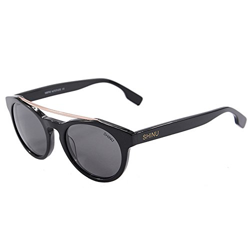 Xiuxiushop UV400 Bambus Sonnenbrillen, Unisex Retro Holzoptik Gläser, Classic Wood Shades Damen Herren (Color : Black)