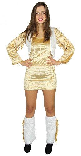 Foxxeo 40259 I 70er Jahre Peace Kleid kurz mit plüschigen Stulpen Hippiekleid Hippie Fell Weste Fasching Party Gr. XS - L, Größe:S (Fell Hippie Weste)
