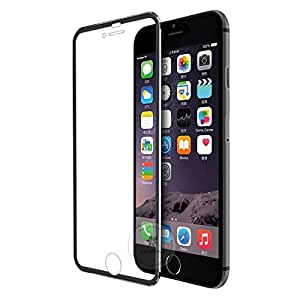 Full Body Edge to Edge Protection, iPhone 6 Tempered Glass Screen Protector with Curved Metal Border, for iPhone 6 ONLY (Be Noted: It may leave Air Bubble on the edge of iPhone 6s) (Black)
