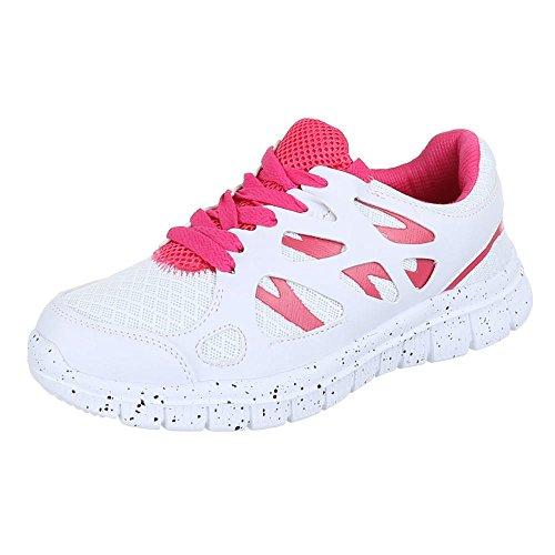 Damen Schuhe, 521, FREIZEITSCHUHE, SNEAKERS TURNSCHUHE, Synthetik in hochwertiger Lederoptik , Weiß Rosa, Gr 37 (Honey Hobo)