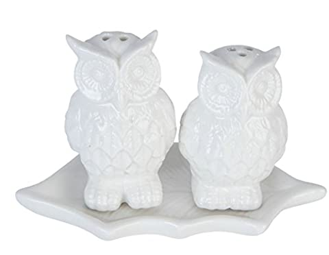 Clayre & Eef 6CE0492 Owl Salt and Pepper Shaker Set White Ca. 11 x 5 x 7 cm