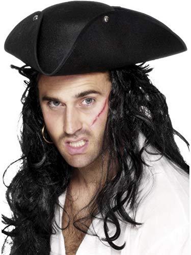 Halloweenia - Kostüm Accessoires Zubehör Herren Piraten Hut Dreispitz mit Nieten, perfekt für Karneval, Fasching und Fastnacht, Schwarz
