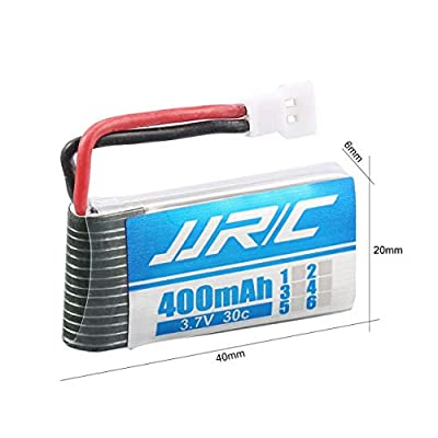 Detectoy 4xJJRC3.7V400mAh30CLiPoBattery, Original 4Pcs JJR/C 3.7V 400mAh 30C Lipo Battery with 4 in 1 Charger for JJR/C H31 H98 GoolRC T6 RC Quadcopter Drone
