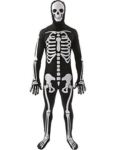 Mens Anzügen Weißen (Skelett Skin Suit Ganzkörperanzug Fasching Karneval Verkleidung Unisex)