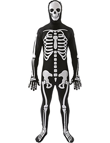 Skelett Skin Suit Ganzkörperanzug Fasching Karneval Verkleidung Unisex (Skelett Suit Skin)