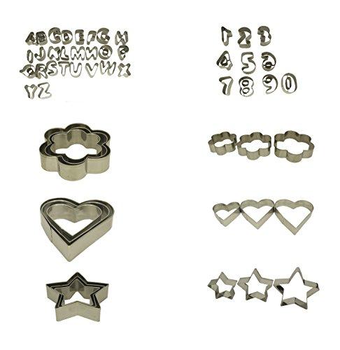 Ausstecher 45Stück | Ausstechformen | Ausstecher aus Aluminium | 45Teile aus Metall Buchstaben Zahlen Figuren für die Dekoration von Gebäck