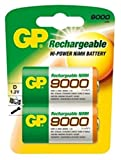 GP - Pilas NiMH recargables, tamaño D, 2 paquetes (9000 mAh)