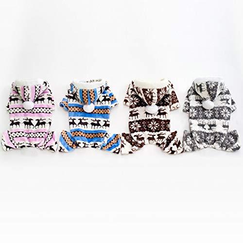 4' Waschen (Sen-Sen Neue Haustiere Kleidung Coral Corns Warme Mütze Hundekleidung Four Feet Fawn Haustierkleidung - Kaffee (L))