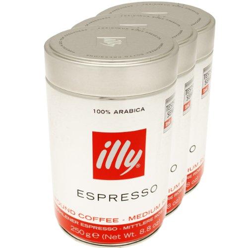 Illy Espresso, 100% Arabica Kaffee, gemahlen, mittlerer Röstgrad, Dose, 3er Pack, 3 x 250g