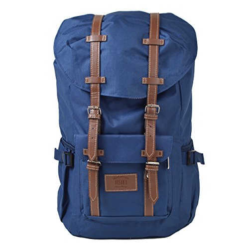 Großer Laptop-Rucksack für 17 Zoll, Damen und Herren, 22L Vintage Backpack - Montreal - lässiger Unisex Retro Tagesrucksack, Schwarz/graue Streifen