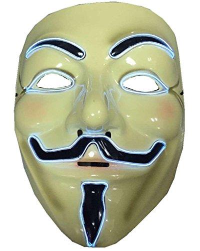 ERGEOB Herren EL Licht Maske V for Vendetta weißes Licht
