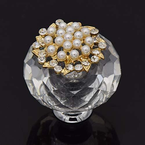 Kesheng Glas Möbelknopf Möbelgriff Möbelknauf mit Strass Perlen Transparent Deko
