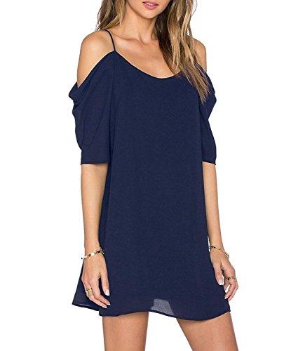 HIMONE Damen V-Ausschnitt Chiffonkleid Party Sommerkleid Festliches Kleid A-Linie kalte Schulter Dunkelblau,L - Kalte Schulter Kleid