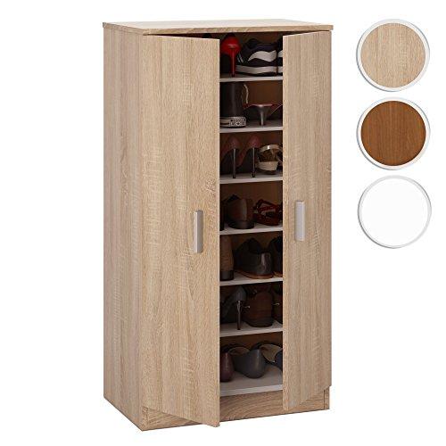 Mueble zapatero Basic, armario zapatero dos puertas color Roble Canadian, medidas: 108 x 55 x 36 cm de fondo