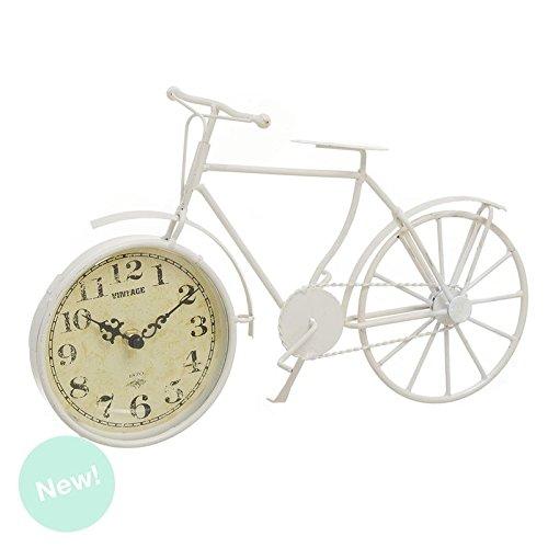 Dcasa - Reloj sobremesa vintage metal bici crema