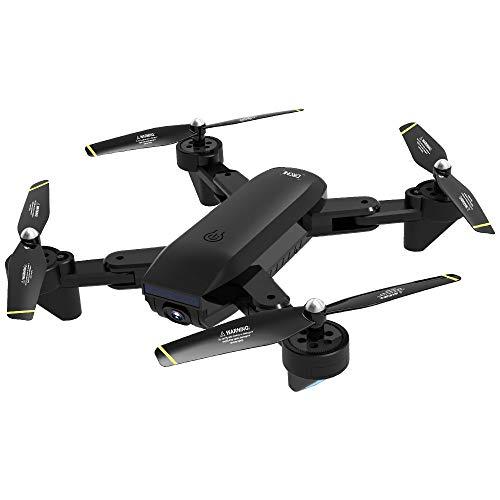 Hukz Faltbarer WiFi FPV Drohne Optischer Fluss Positionierung Quadrocopter, 1080P HD Doppelte Kamera Live Ubertragung, Extra Lange Flugzeit,APP Steuerung, Kopflos Modus,3D Rollover Stunt (Schwarz)