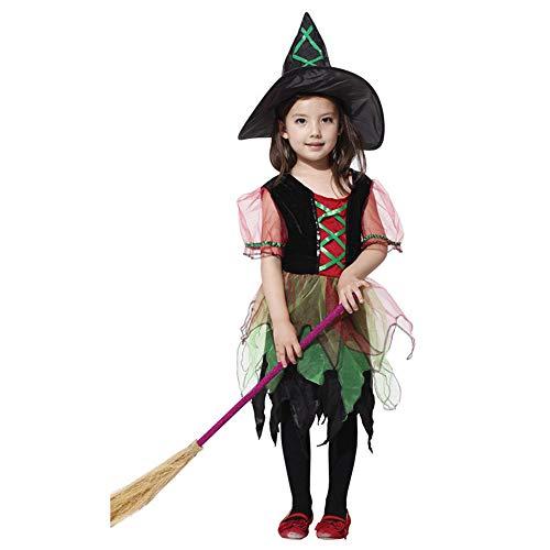 A_Feel Mädchen Elegante Hexe Kostüm Outfit Kinder Halloween Kostüm 4-12 Jahre (größe : XL(130-140cm))