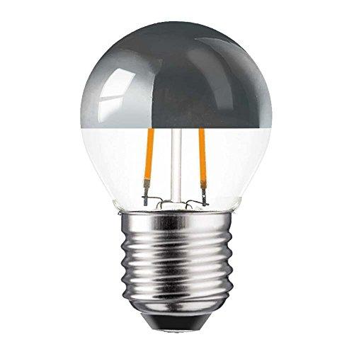 1 x LED Filament Tropfen Leuchtmittel 2W = 25W E27 Kopfspiegel Silber Glühfaden extra Warmweiß 2200K (1 Stück)