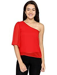Chimpaaanzee Women One Sided Offshoulder Red Top