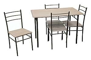 Galileo casa set tavolo e 4 sedie mdf e metallo marrone for Tavolo cucina 70 x 110