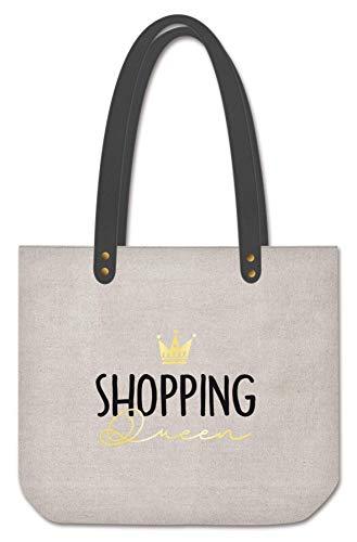Grafik Werkstatt Shopper Damen | Tasche | Shopping-Bag | Leinen | grau-gold | Shopping Queen