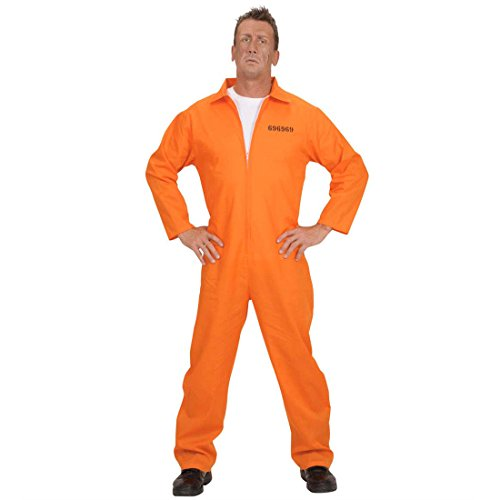 NET TOYS Häftling Kostüm Sträfling Gefangener Knasti Sträflingskostüm Häftlingskostüm orange Gr M 46/48