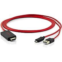 Cable USB de 5pines adaptador MHL HDMI HDTV HD TV rojo para teléfonos móviles, teléfonos inteligentes y Tablet PC de