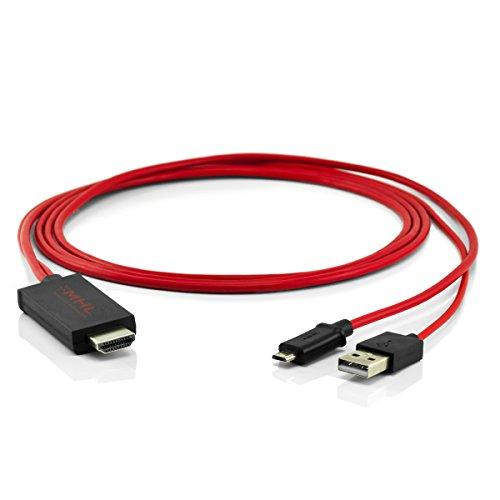 5-Pin MHL HDMI Adapter USB Kabel Konverter HDTV HD TV ROT für Handys, Smartphones und Tablet PCs (Mhl Hdtv)