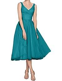 09b775b980b51a Topkleider Damen Altrosa Festlich V-Neck Traeger Tuell Abendkleider  Wadenlang Partykleid Cocktailkleider