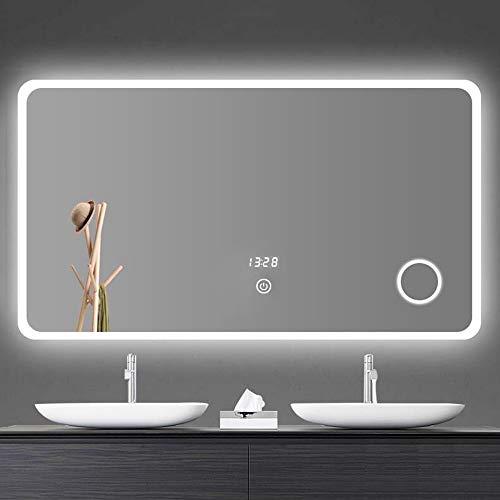 Espejo de baño LED Iluminado de 800x600 mm luz LED, luz Inteligente con Interruptor táctil y calefacción...