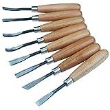 Lot d'outils de ciseaux à bois pour sculpture, bricolage, création, art, usage professionnel - 8pièces de menuiserie/ sculpture à la main en acier carbone bois