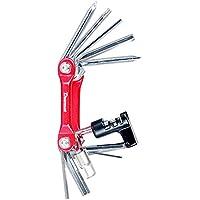 Kit de Herramientas de reparación mecánicas para Bicicleta, Acero al Carbono, Compacto, portátil, 11 en 1, Multifuncional, Multifuncional, para Bicicleta, Bicicleta de montaña ((Rojo)