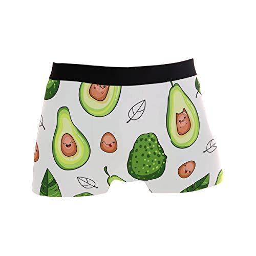 BONIPE Herren Unterhose, süßes grünes Avocado-Fruchtmuster, Stretch, atmungsaktiv, niedrige Höhe, Größe S Gr. M, Mehrfarbig