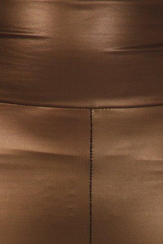 Sakkas Matte Flüssigkeit mit hoher Taille Strecken-Leggings - Hergestellt in den USA Braun