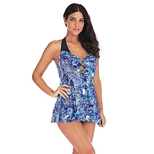Plus Size Schiere Robe (Damen Top Übergröße drucken Tankini Schwimmanzug Badeanzug Beachwear Gepolsterte Badebekleidung Plus Size Print Shorts)