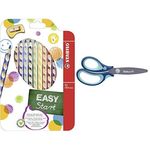 Ergonomischer Buntstift für Linkshänder - STABILO EASYcolors - 12er Pack mit Spitzer - mit 12 verschiedenen Farben & Pelikan 803519 griffix Schulschere, Blau, für Linkshänder