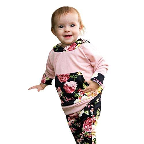 samLIKE 2pcs Kleinkind Baby Mädchen Kleidungs gesetzte BlumenHoodie Tops + Pants Outfits (80, Rosa)