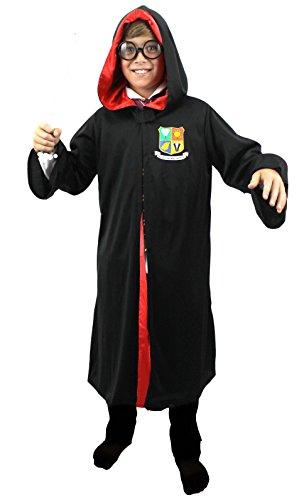 Zauberer Lehrling Kostüm - ILOVEFANCYDRESS Zauberer Kinder KOSTÜM VERKLEIDUNG=Schwarze Robe MIT Wappen=ROTES Innenfutter= KLETTENVERSCHLUSS=Fasching Karneval Halloween -XLarge