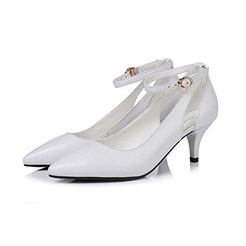 MUMA Pumps Ms. High Heels Stilettos Hochzeitszeremonie Graduierung Arbeiten Brautschuhe 5cm Absatz (Farbe : Weiß, größe : EU38/UK5.5/CN38) 5 Stiletto Heels