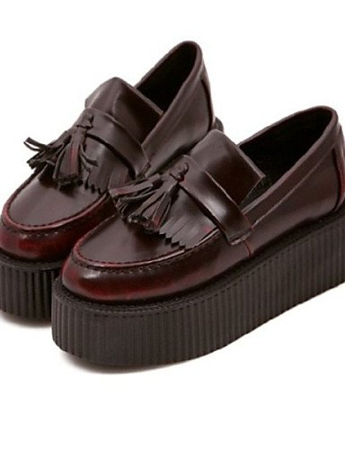 ZQ Scarpe Donna - Stringate - Casual - Creepers / Punta arrotondata - Plateau - Tessuto - Marrone , brown-us8 / eu39 / uk6 / cn39 , brown-us8 / eu39 / uk6 / cn39 brown-us8 / eu39 / uk6 / cn39