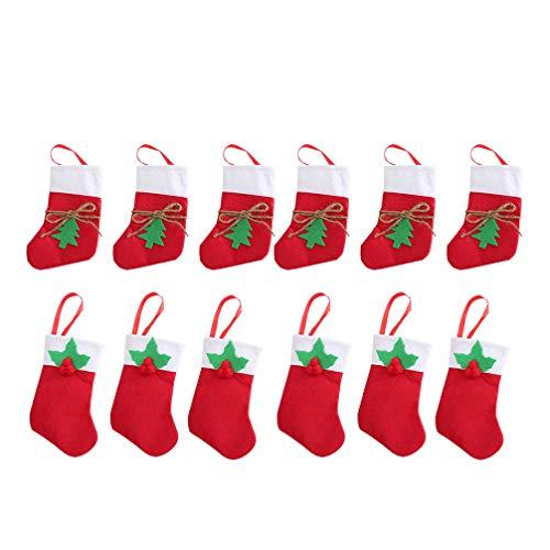 Amosfun - sacchetti regalo natalizi per calzini, per albero di natale, coltelli, forchette e posate, 12 pezzi