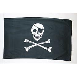 Bandera pirata con calavera y parche, 150 x 90 cm.