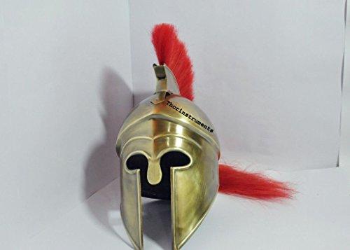 Thor Instrumente. CO Mittelalter Griechische Korinthischer Helm mit Rot plume- Athen Spartan Kostüm Armour Messing antik Finish