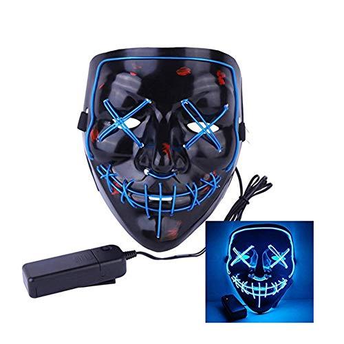 Wilk LED Máscaras Craneo Esqueleto Mascaras Navidad Halloween Cosplay Grimace Festival Party Azul