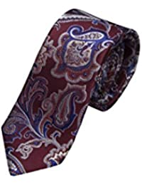 Necktie - Pink twill with paisley in blue and silver white Notch